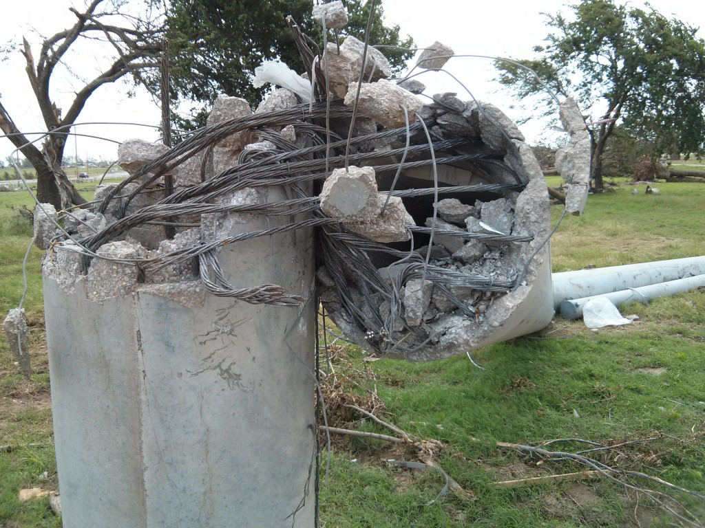 Reinforce Concrete Post Toppled by Tornado