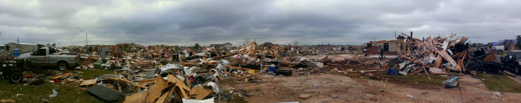 Panoramic view of damage near Warren Theater